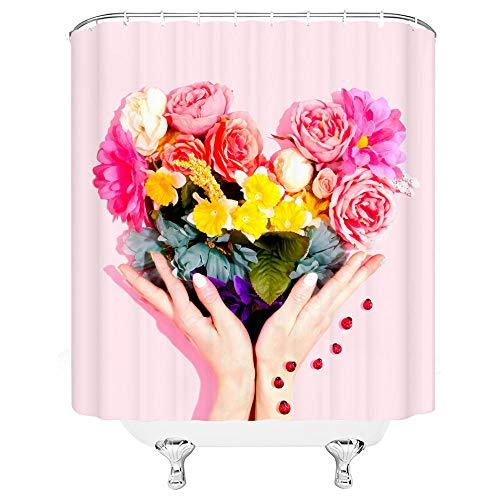 kuanmais Cortina de Ducha Divertida Rosa con Flores Cortina de Ducha D