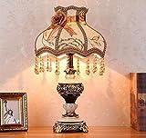 Mopoq Dormitorio de Alta Gama Lámpara de Mesa de Noche imitación de Lujo Jade decoración Creativa cálida cálida luz Estudio lámpara de Mesa lámpara de Resina Cuerpo + Tela Pantalla