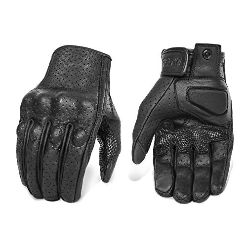 Updated Men's Leather Motorcycle Gloves with Two Touchscreen Fingers Anti-Slip Motorbike Racing Gloves (Updated,Perforated, XXL)