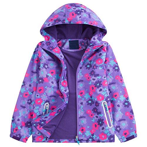 GGBaby Mädchen Jacke mit Fleecefütterung Kinder Übergangsjacke warm wasserdicht Winddicht atmungsaktiv Regenjacke Wanderjacke Violett 120