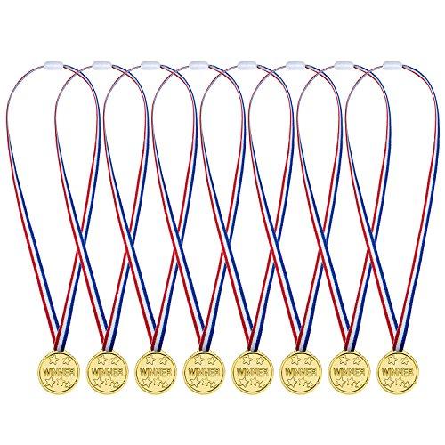 Pangda 36 Pezzi Medaglie Oro Plastica Medaglie di Vincitore per Bambini Festa, Concorrenza, Ricompensa