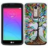 LG K7 case (T-Mobile MetroPCS) LG Tribute 5 (Boost Mobile) Dual Layer Armor Defender Protective Case [Shock Absorption / Impact Resistant] Cover by Zase ® Unique Design (Hybrid Colorful Tree)