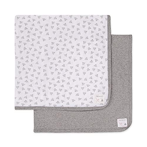Burt's Bees Baby - Blankets, Set of 2, 100% Organic Cotton Swaddle, Stroller, Receiving Blankets (Heather Grey Solid + Honeybee Print) , 29x29 Inch (Pack of 2)