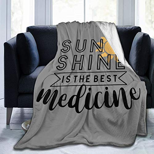 Skyteelor Sun Shine is The Best Medicine Ultra Soft Micro Flannel Fleece Design Throw Blanket Non Shedding Durable Warm Pad Bed Cover Air Conditioning Blanket for Home Bed Couch Sofa Office Car