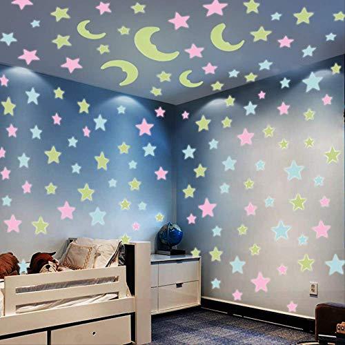 mengzhong Star gloeiende fluorescerende sticker muur sticker net rode kamer slaapkamer decoratie renovatie benodigdheden plafond muur zelfklevend
