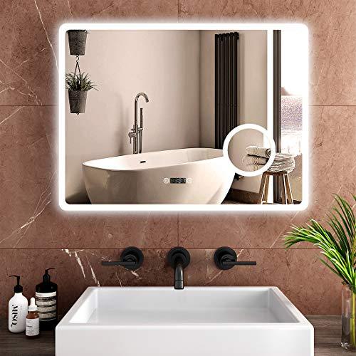 Safeni Badspiegel mit Beleuchtung 80x60cm LED Badezimmerspiegel Wandspiegel mit Touch-Schalter, Beschlagfrei, Uhr, Schminkspiegel mit 3-Fach Vergrößerung, Kaltweiß