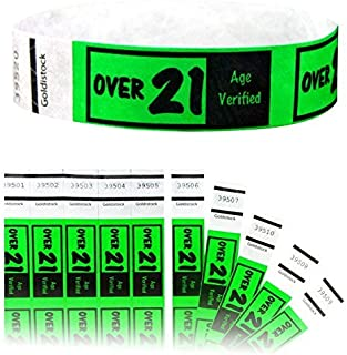 NEW Green  Drinking Age 21 Event Wristbands 500 Count Secure Waterproof