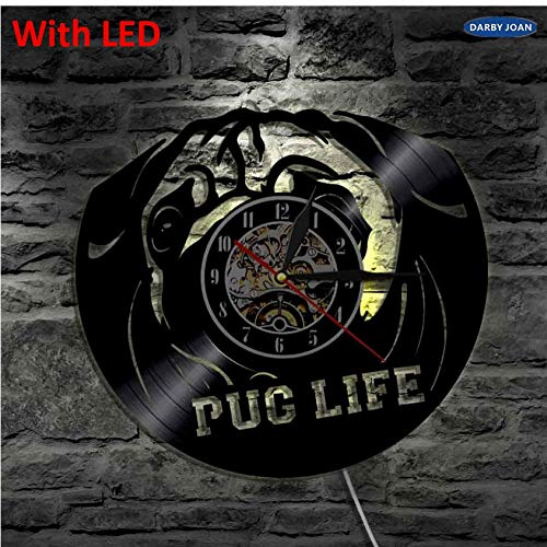 mswdm Reloj De Pared Pet Puppy CD Retro Led Blacklight Pug Life Dog Cute Vintage Vinyl LP Record Luz De Pared Animal Theme Led Relojes-Led