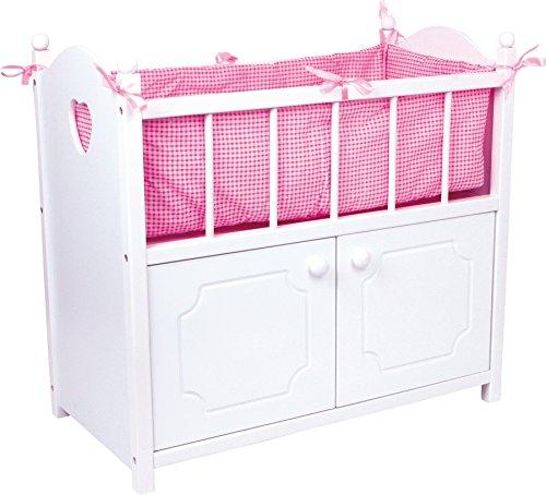 2875 Letto per bambole con armadio small foot, letto per bambole in legno bianco con accessori in tessuto rosa, a partire da 3 anni