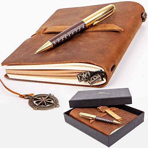 Premium Leather Journal Set: Real Authentic Antique Style & Handmade Leather-Bound Travel Diary for Artistic Men and Women. This Versatile Refillable Notebook is Ideal as a Graduation Gift (Notebook)