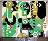 ABAKUHAUS Astratto Tenda, 2 Uomini e Una Donna Triste, per Camera da Letto Due Pannelli Set, 280 x 260 cm, Multicolore
