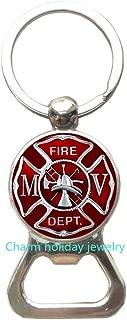 Firefighter Gift Firefighter Bottle Opener Keychain-Fireman Key Ring-Firemen Bottle Opener Keychain-Gift for Firefighter-Fire Department Gift-#228