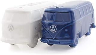 BRISA VW Collection - Volkswagen Furgoneta Hippie Bus T1 Van Conjunto de Salero y Pimentero de Cerámica en Caja de regalo, Botellas de condimento, Tarros de especias, Decoración de Mesa (Azul/Blanco)