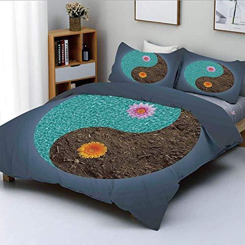 Juego de funda nórdica, Yin Yang con flores, paz, equilibrio, tierra, fuerzas opuestas contrarias ArtDecorative, juego de cama de 3 piezas con 2 fundas de almohada, azul pizarra, turquesa, ámbar, el m