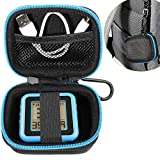 WGear Golf GPS Case for Bushnell Phontom Golf GPS, Neo Ghost Golf GPS; Garmin 010-01959-00 Approach G10, and Other Handheld Golf GPS, mesh Pocket and Detachable Wrist Strap (Black with Blue Zip)
