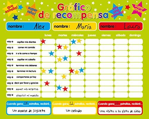 Fridgemagic Recompensa magnética / Star / Responsabilidad Gráfico / Comportamiento Durante un máximo de 3 niños. Tablero rígido de 16 'x 13' (40 x 32cm) con Gancho para Colgar