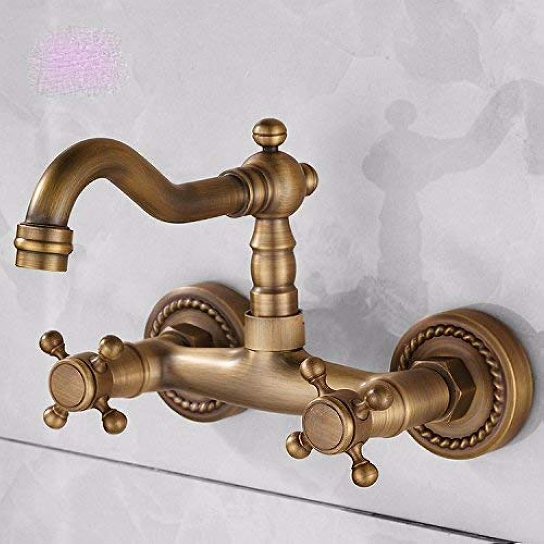 CFHJN Home Waschraum Waschbecken Mischbatterie Kupfer im europischen Stil In die Wand Heie und kalte Keramikküche Doppelter Griff Einlochmontage Gebürstet