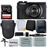 Canon PowerShot G7 X Mark III Digital Camera (Black) + 64GB Extreme Pro Memory Card + Camera Case + Extra NB-13L Battery + Tabletop Tripod/Pistol Grip + USB Card Reader + Wallet + Lens Cleaning Pen