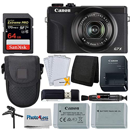 Canon PowerShot G7 X Mark III Digital Camera (Black) + 64GB Extreme Pro Memory Card +...