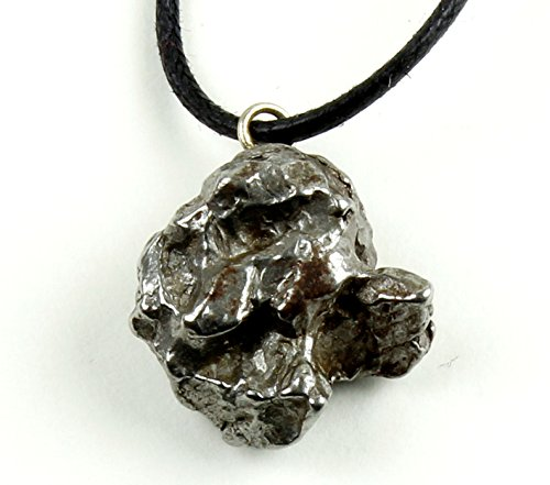 Dancing Bear Authentic Meteorite Pendant Necklace, Treasure Chest Box, Real Space Rock, Educational Card & Certificate of Authenticity. Adjustable Cord, Campo Del Cielo, Argentina