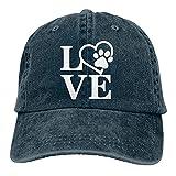 Bokueay Love Dog Paw Gorra de Mezclilla Deportiva Ajustable Snapback Unisex Llanura Sombrero de Vaquero de béisbol Estilo clásico