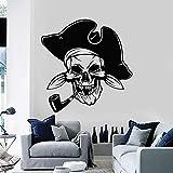 wZUN Divertido Pirata Pared calcomanía Fumador cráneo Sombrero Vinilo Pegatina niño Dormitorio Art Deco 85X87cm