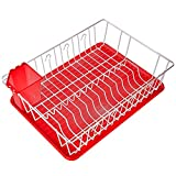 Home Intuition 3-Piece Dish Drying Rack Drainer Set 17' x 13.75' x 5', Red