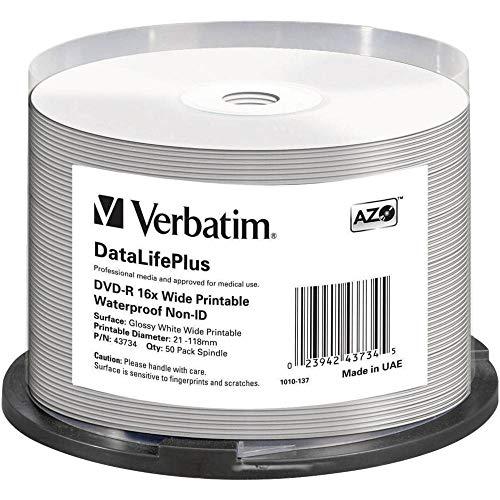 Verbatim Dvd-R 16x Wide Printable Waterproof No ID Brand