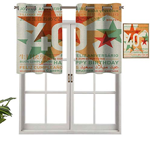 Hiiiman Cortinas cortas, con ojales, de alta calidad, con cenefa para ventana, diseño de cumpleaños de todo el mundo en diferentes idiomas, estilo retro, juego de 2, 137 x 91 cm para baño y cocina