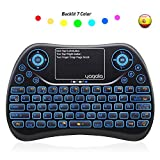 Yagala mini teclado inalámbrico retroiluminado 2. 4ghz con touchpad mouse combinato de color 9 cambios de color per android tv box, pc, pad, smart tv, x-box, htpc