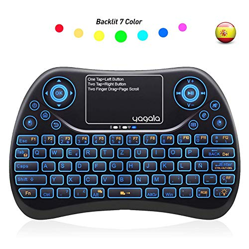 YAGALA Mini Teclado inalámbrico retroiluminado 2.4GHz con Touchpad Mouse combinato de Color 9 Cambios de Color per Android TV Box, PC, Pad, Smart TV, X-Box, HTPC