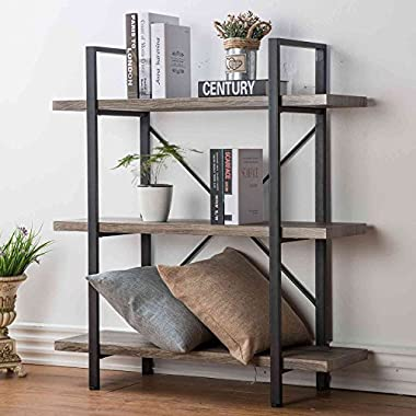 HSH Furniture 3-Shelf Bookcase, Rustic Bookshelf, Vintage Industrial Metal Display and Storage Tower, Dark Oak
