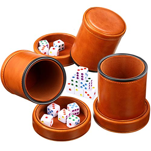 3 Sets Dice Cup Leather with Lid Felt Lining Farkle Dice Organizer Cup Includes 15 Pieces Colorful Dices, Quiet Dice Shaker for Farkle Board Games