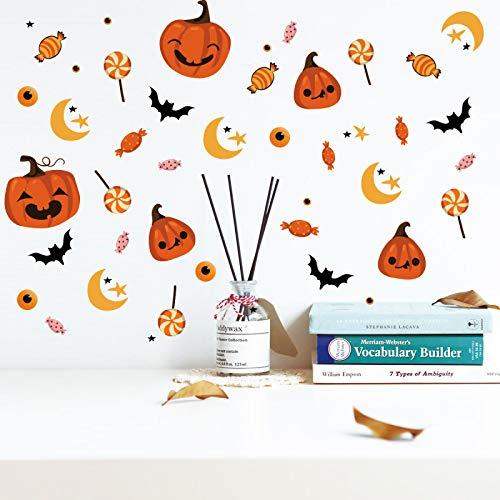 YMKT Decoraciones de Halloween DIY Pumpkin Sweet Bat Star Star Wall Etiqueta de pared DIY Decoración para el hogar Lollipop Candy Wallpaper para el dormitorio Sala de estar Halloween Party