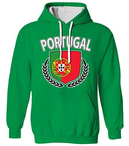 Portugal Olive Wreath Branch Flag Crest Portuguese 2 Tone Hoodie Sweatshirt (Kelly,3X-Large)