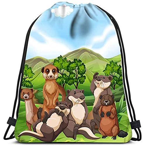 Dingjiakemao Trekkoord Rugzak Trekkoord Rugzak Otters En Bevers In Het veld Waszak Gym Yoga Tas
