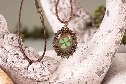 Blume Kette Leder Harz Halskette Weihnachtsgeschenk Anhänger