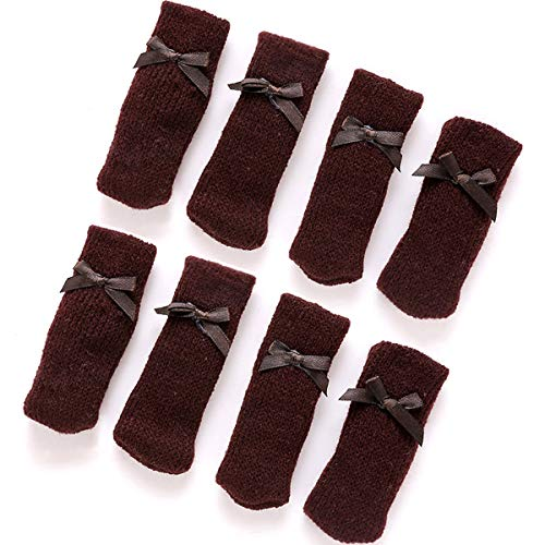Chair Legs Cover Knit Boot Furniture Feet Protectors 8pcs (Pure Brown)