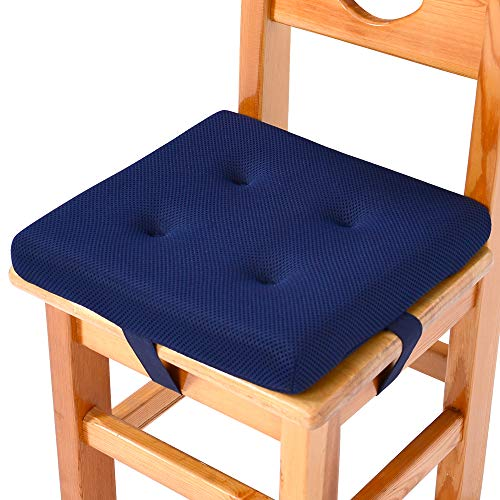 baibu Super Breathable Kids' Chair Pads Sandwich Mesh Fabric Square Seat Cushion with Ties for School Chair/Wood Chairs(10', Navy Blue Velcro)