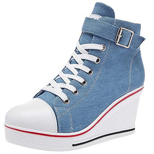 rismart Mujer Cuñas Zapatos De Lona High-Top Casuales Cremallera de Moda Zapatillas Talla Grande SN02438(Azul,37.5 EU)