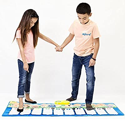 """Keyboard Playmat 54"""" Large Piano Musical Mat - 10 Large Touch Piano Keys - Plays 10 Popular Childrens Songs and Nursery Rhymes, Play Mode, Learning Mode, Adjustable Volume and Tempo, Fun Toy for Kids by DimpleChild"""