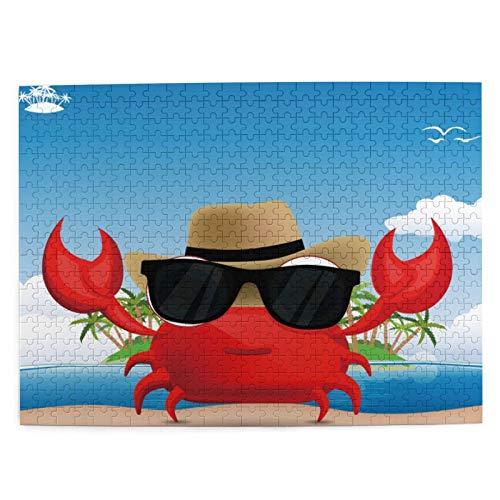 MAYUES Rompecabezas Puzzle 500 Piezas Crustáceo Fresco con Gafas de Sol Negras y un Sombrero Vacaciones de Verano en una Isla Tropical Inteligencia Jigsaw Puzzles para Adultos Niños Juegos