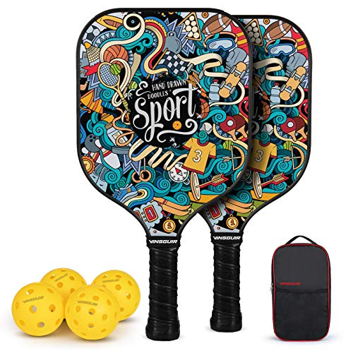 Vinsguir Pickleball Paddles Set, Pickleball Paddle Set of 2 Rackets and 4 Balls for Outdoor and Indoor, Lightweight Pickleball Racquet, Raquette Graphite with Portable Pickleball Bag for Men and Women