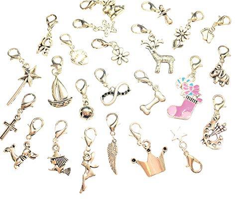 La Perla di SaWi 24 Teile Charm-Anhänger Füllung für Adventskalender Silber-schmuck für Mädchen & Frauen Advents-Kalender (24 Charms)