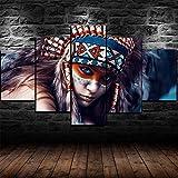 5 piezas cuadro en lienzo Cuadro compuesto por 5 lienzos impresos en HD, utilizados para decoración del hogar y carteles Indias americanas nativas americanas (150x80cm sin marco)
