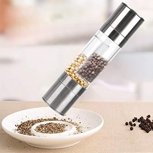 Dubbele kop Dual Use Pepper Grinder Zeezout Zwarte Peper Geraspte Fles kruiden pot Verstelbare Keramische Grinding Core Handmatige Keuken Tool
