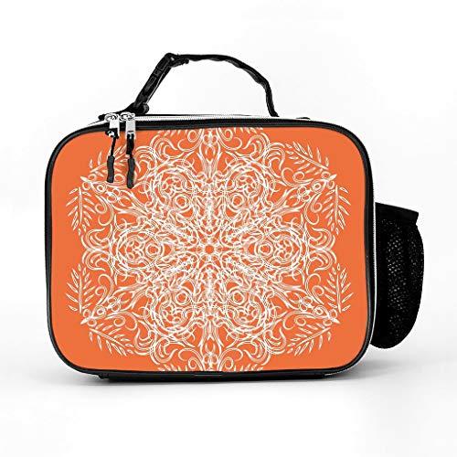 Bolsa de almuerzo con aislamiento de piel, color naranja, multicolor, tamaño único