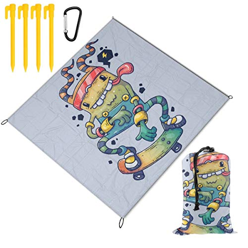 Learn More About Hucuery Character in The Modern Graphic Style Picnic Blanket 59 X 57 in, Foldable W...