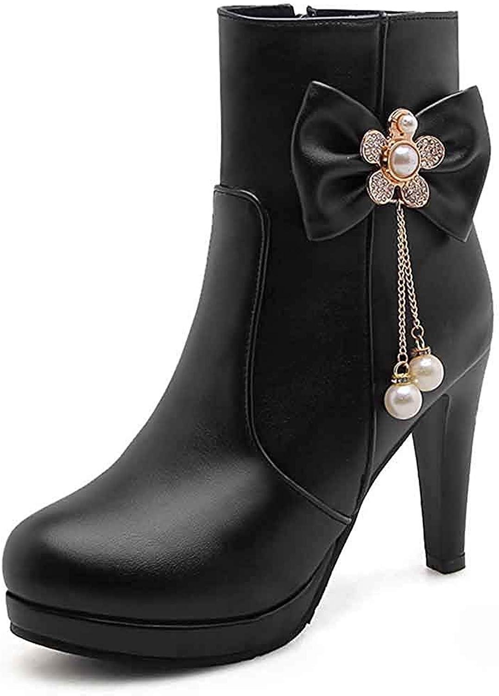 Unm Women's Beaded Bows Short Boots with Zipper - Platform Rhinestones Round Toe - High Block Heel Ankle Booties
