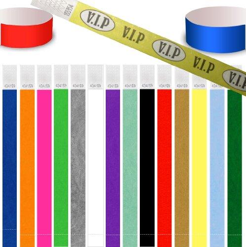 UK Wristbands 100 pièces Bracelet identité Tyvek 19mm / 25mm, Orange Fluo, 19mm (3/4\